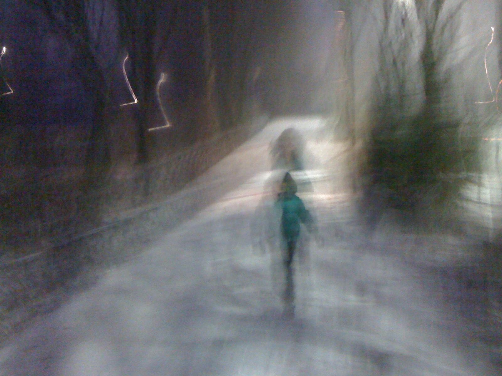 Wordt achterna gezet door sneeuwbal gooiende jongen