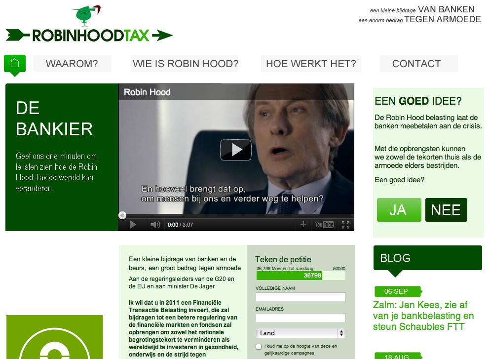 Website van Robinhoodtax in Nederland