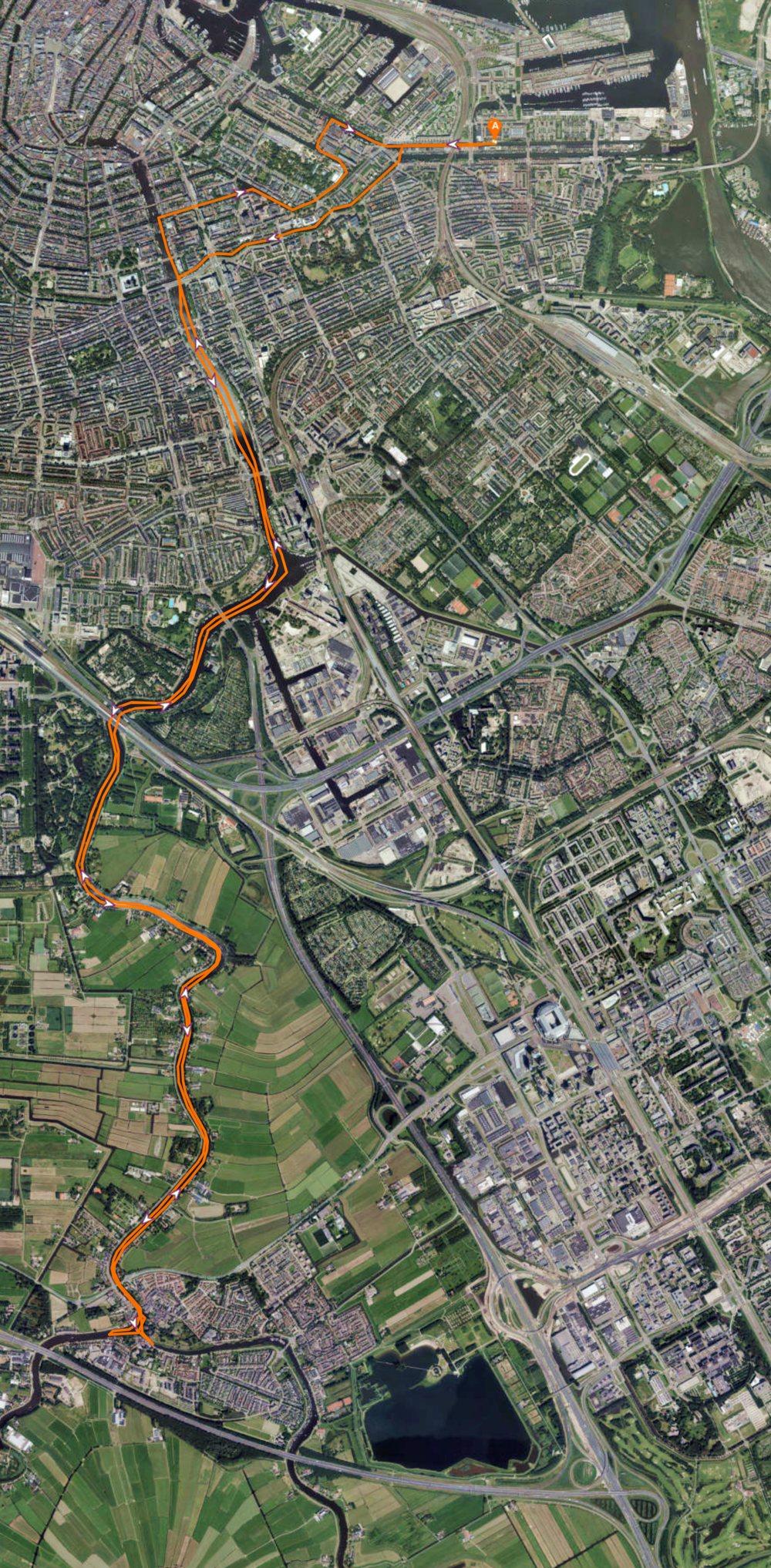 De kajak route van Amsterdam Oost naar Ouderkerk aan de Amstel