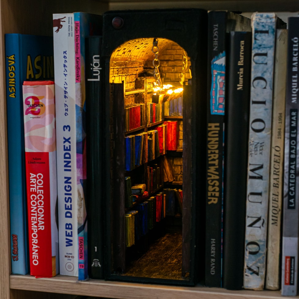 "Alby's ""book nook"" is a bookcase-within-a-bookcase with its own light"